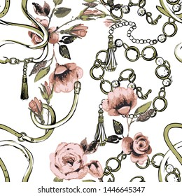 Seamless pattern with belts, ropes, straps and flowers. Vintage floral sketch on white background. Baroque fabric design. Flowers on belts, nature and art.