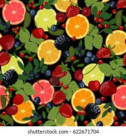 Seamless pattern of berries and citrus. Slices of lemon, orange, lime, blueberries, cranberries, lingonberries, cherries and strawberries.
