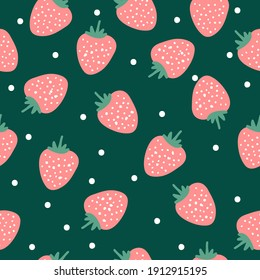seamless pattern with berries. Pink strawberries. dark green background. white dots. Vector texture. Fashion print for textiles.