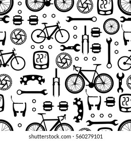 Seamless pattern of bicycle parts