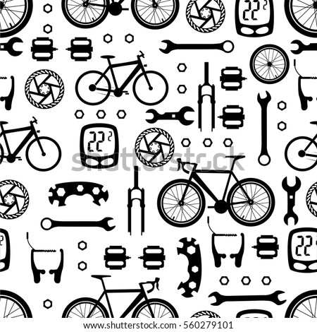 Seamless Pattern Bicycle Parts Stock Vector Royalty Free 560279101