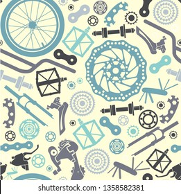 Seamless pattern of bicycle parts. Vector image.