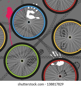 seamless pattern with bicycle wheels