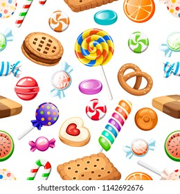 Seamless pattern. Big collection of different cartoon style candies and cookies. Wrapped and not lollipops, cane. Cute glossy sweets. Flat colorful icons. Vector illustration on white background.