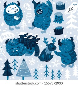 Seamless pattern with Bigfoots or Yetis who live in the forest. Vector illustration