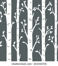 Seamless pattern. Birch or aspen tree forest design. Custom birch tree wall decals for woodland room theme. Interior wall decoration.