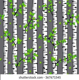 Seamless Pattern with Birch Trees. Birch Tree Spring Summer Texture. Trees Backdrop.
