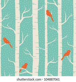 Seamless pattern with birches and birds in winter.