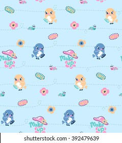 Seamless pattern, bird girl holding mirror and lipstick and making up her lips with worm on light blue background.