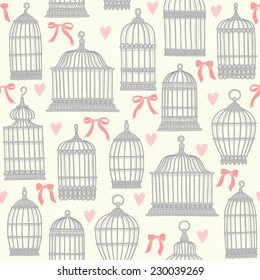 Seamless pattern with birdcages.