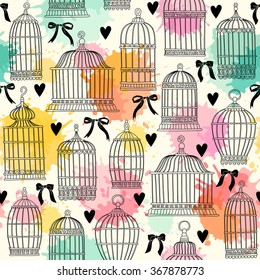 Seamless pattern with birdcages. Freehand drawing.