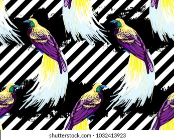 Seamless pattern with bird-of-paradise. Tropical pattern with bird of paradise. Exotic bird vector background. Perfect for wallpapers, pattern fills, web page backgrounds, surface textures, textile