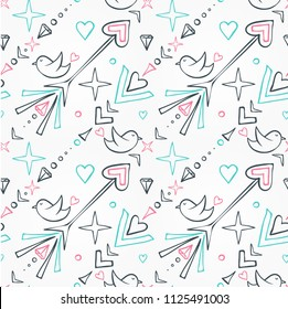 Seamless pattern with birds, arrows, hearts