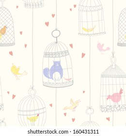 Seamless pattern with birds and birdcages. EPS 10. No transparency. No gradients.