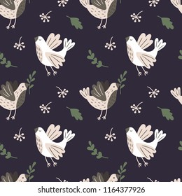 Seamless pattern with birds, branches and leaves. Vector template.
