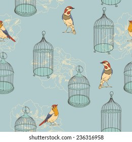 Seamless pattern with birds and cages. Wedding background. Romantic texture in vintage style.