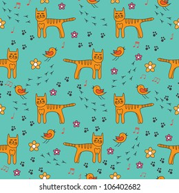 seamless pattern with birds and cats. Can be used for wallpaper, pattern fills, web page background, surface textures.