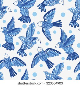 Seamless pattern with birds. Colorful texture.