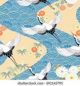 oriental cotton chinese black blue heron Japanese cranes fabric stork birds