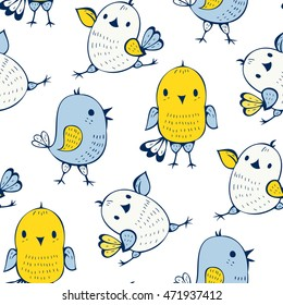 Seamless pattern with birds  in doodle style. Vector illustration.