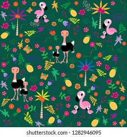 Seamless pattern with birds family.Flamingo and ostrich. Flawers, leaves, palmtrees. Vector illustration in cartoon style.