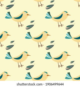 seamless pattern birds and feathers yellow vector