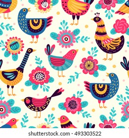 Seamless pattern with birds and flowers. Freehand drawing