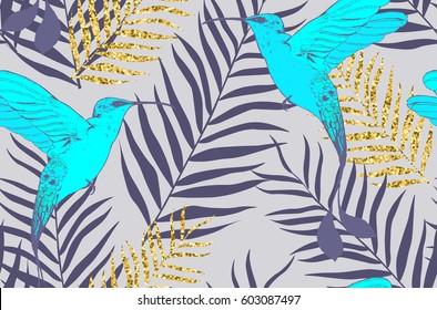 Seamless pattern with birds and golden palm leaves in vector
