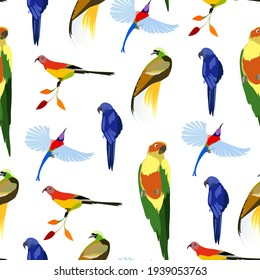 Seamless pattern with birds of paradise and parrots on a white background