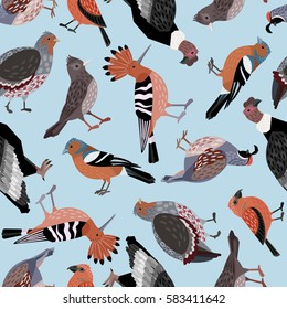 Seamless pattern with birds: quail, partridge, finch, hoopoe, crossbill, nightingale, condor