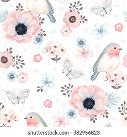 Seamless pattern with birds Robin, butterflies, anemones and small flowers in vintage watercolor style, vector illustration.