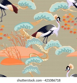 Seamless pattern with birds. Royal Crane. Ornament with oriental motifs. Vector.