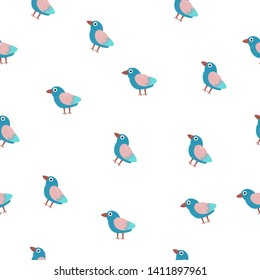 seamless pattern with birds for textiles on a white background