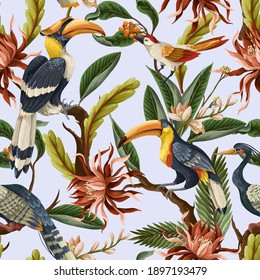 Seamless pattern with birds and tropical leaves and flowers. Vector