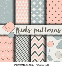 Seamless pattern with  birds Vector Background Set of seamless backgrounds. Vector image for kids