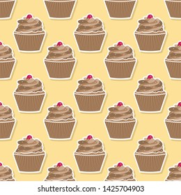 Seamless pattern for birthday wallpaper with beautiful cupcake.