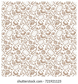 seamless pattern of biscuit, butter, chocolate, ears of corn. suitable for use as packaging paper, greeting card