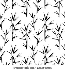 Seamless pattern with black bamboo leaves and sprouts branches in Japanese style, white background. Vector eps 10 illustration