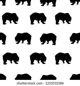 Seamless pattern black bear silhouette on white background, vintage style. Wild animals simple cute kids print, drawing texture for fabric textile cloth or wall paper, vector eps 10