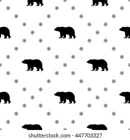 Seamless pattern with black bears. Create gift and packaging paper, scrapbook, fabric materials, holiday invites, birthday cards, party decorations, clothes, textile, web pages and more!