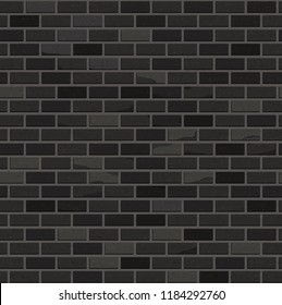 Seamless pattern. Black brick wall. Vector design.