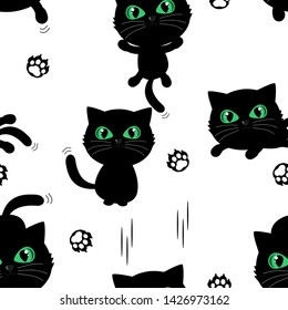 Seamless pattern of Black cat kitten cartoon character with green eyes on white background. Funny animal cartoon vector illustration.
