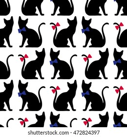 Seamless pattern with black cat silhouette. Vector background