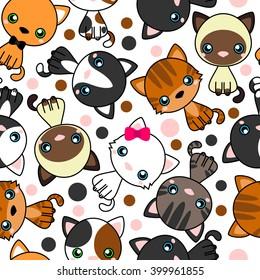 Seamless pattern with  black cat, white cat, grey cat, grey and white cat, brown and black act, brown cat. Vector Illustration Cartoon