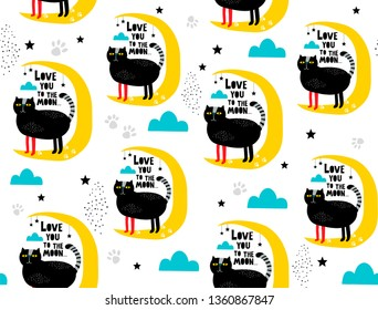 Seamless pattern with black cats and romantic messages. Love you to the moon endless wallpaper for decoration, Scandinavian trendy style.