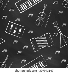 Seamless pattern black chalk board with white children's chalk drawings. Hand-drawn style. Seamless vector wallpaper with the image of musical instruments  piano, balalaika, mixer, violin bow, note