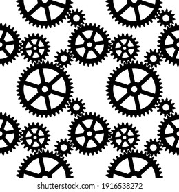 Seamless pattern with black cogwheel gear mechanism on a white background. Vector illustration.