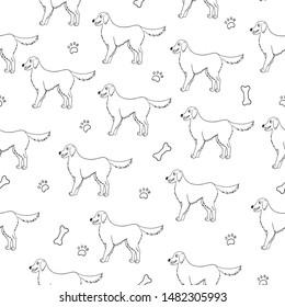 Seamless pattern with black contour of cartoon labrador retriever dogs on white