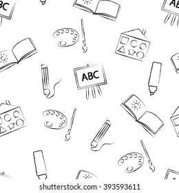 Seamless pattern with black crayon children's drawings on white background. Hand-drawn style. Seamless vector wallpaper with the image of colors, brushes, album and other school items