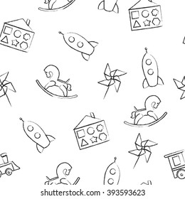 Seamless pattern black crayon children's drawings on white background. Hand-drawn style. Seamless vector wallpaper with the image of  rocking horse, rocket, locomotive, whirligig